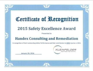 Handex Receives Safety Recognition from Kleinfelder