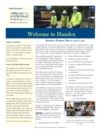 Welcome to Handex Newsletter Q2 2020