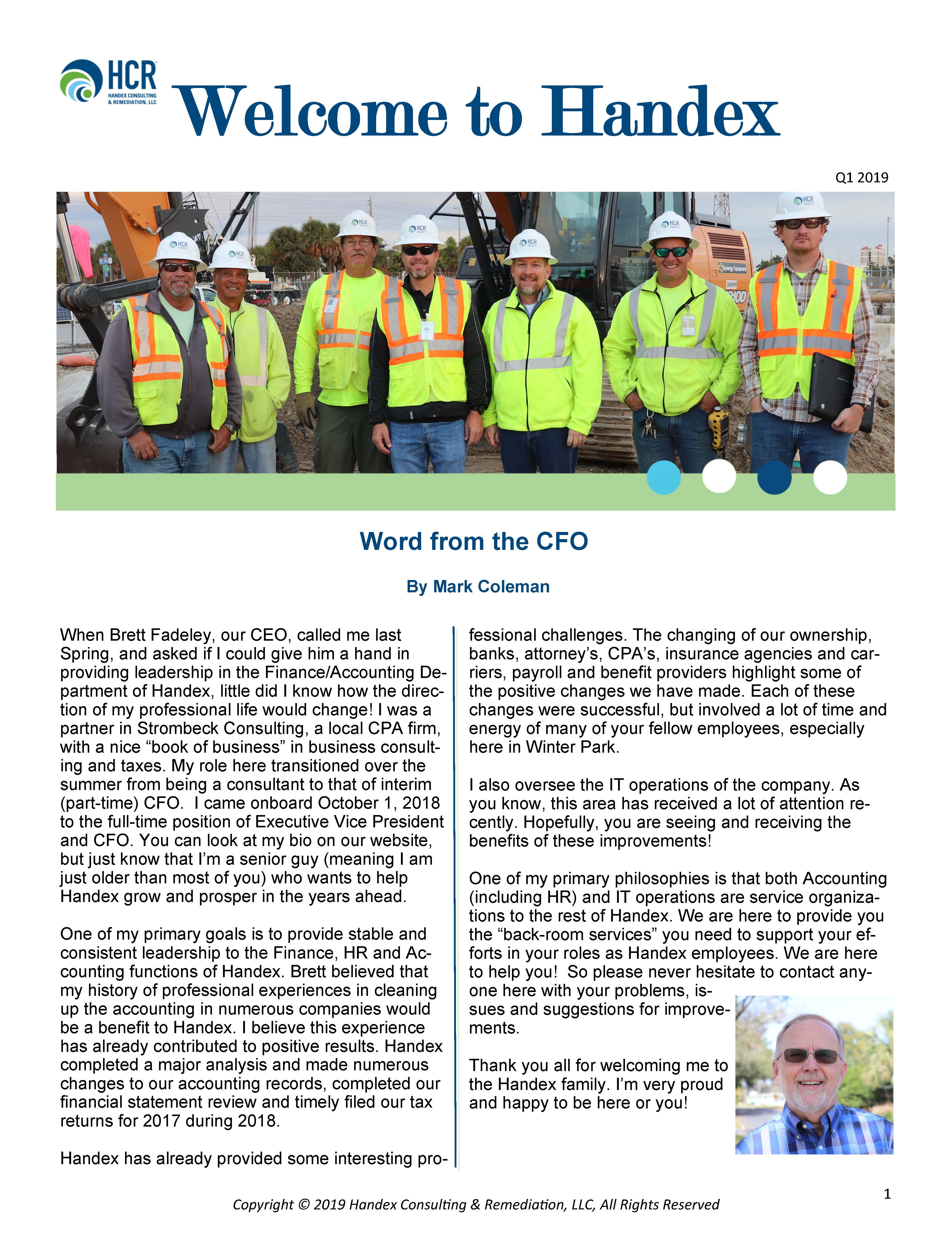 Welcome to Handex_Q1 2019 Newsletter_Page_1
