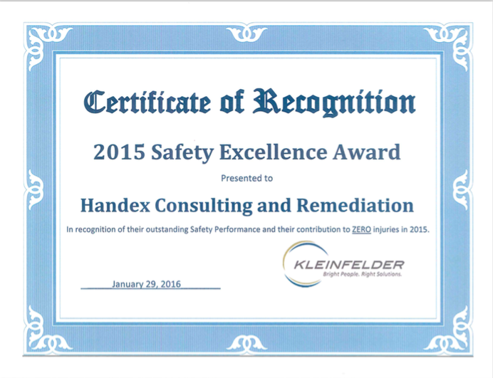 HCR Receives Safety Recognition from Kleinfelder